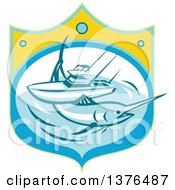 Clipart Of A Retro Blue Marlin Fish And Charter Boat At Sea In A Shield Royalty Free Vector Illustration