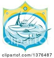 Retro Blue Marlin Fish And Charter Boat At Sea In A Shield