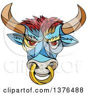 Clipart Of A Colorful Mosaic Angry Bull With A Ring Royalty Free Vector Illustration