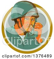 Clipart Of A Retro Watercolor Styled WWII American Soldier Talking On A Field Radio In An Orange Circle Royalty Free Vector Illustration
