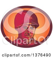 Retro Watercolor Styled WWII American Soldier Wearing A Helmet In An Oval