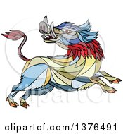 Clipart Of A Colorful Mosaic Wild Boar Attacking Royalty Free Vector Illustration