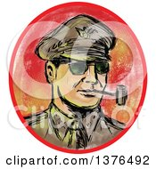 Clipart Of A Watercolor And Sketch Styled Ww2 General Officer Smoking A Pipe In An Oval Royalty Free Vector Illustration