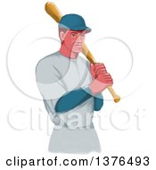 Retro Watercolor Styled White Male Baseball Player Athlete Holding A Bat
