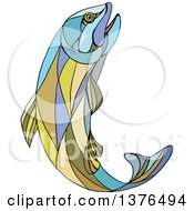 Clipart Of A Colorful Mosaic Jumping Trout Fish Royalty Free Vector Illustration by patrimonio
