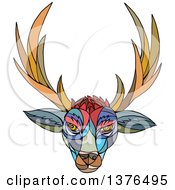 Colorful Mosaic Stag Deer Head With Antlers