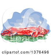 Clipart Of A Retro WPA Styled Roasted Pig Royalty Free Vector Illustration
