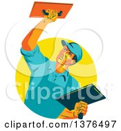 Clipart Of A Retro WPA Styled Plasterer Worker Man Emerging From A Yellow Circle Royalty Free Vector Illustration