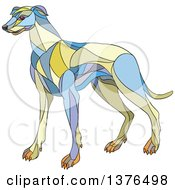 Clipart Of A Colorful Mosaic Greyhound Dog Royalty Free Vector Illustration