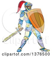 Colorful Mosaic Knight Holding A Sword And Shield