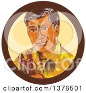 Clipart Of A Retro Watercolor Sytled Mechanic Man Holding A Spanner Wrench In A Circle Royalty Free Vector Illustration