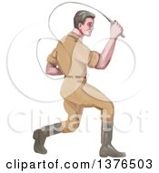 Clipart Of A Watercolor Styled Male Lion Tamer Cracking A Bullwhip Royalty Free Vector Illustration