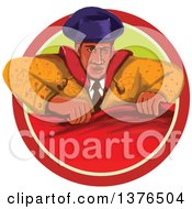 Clipart Of A Retro Watercolor Styled Bullfighter Matador Holding A Cape In A Circle Royalty Free Vector Illustration