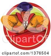 Retro Watercolor Styled Bullfighter Matador Holding A Cape In A Circle