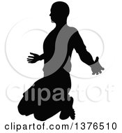 Clipart Of A Black Silhouetted Male Soccer Player Kneeling Royalty Free Vector Illustration