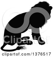 Clipart Of A Black Silhouetted Male Lion Sitting Royalty Free Vector Illustration