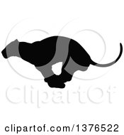 Clipart Of A Black Silhouetted Male Lioness Running Royalty Free Vector Illustration by AtStockIllustration
