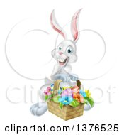 Clipart Of A Happy White Easter Bunny Rabbit With A Basket Of Eggs And Flowers Royalty Free Vector Illustration