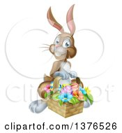 Clipart Of A Happy Brown Easter Bunny Rabbit With A Basket Of Eggs And Flowers Royalty Free Vector Illustration