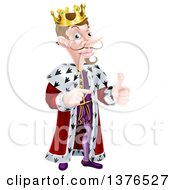 Clipart Of A Happy Brunette Caucasian King Giving A Thumb Up And Pointing To The Right Royalty Free Vector Illustration