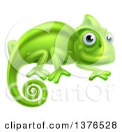 Clipart Of A Happy Green Chameleon Lizard Royalty Free Vector Illustration