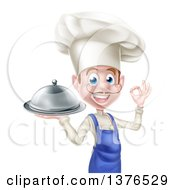 Clipart Of A Happy Young White Male Chef With A Mustache Gesturing Ok And Holding A Cloche Platter Royalty Free Vector Illustration