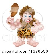 Clipart Of A Cartoon Muscular Happy Caveman Holding A Club And Giving A Thumb Up Royalty Free Vector Illustration