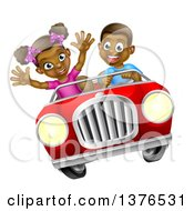 Clipart Of A Happy Black Boy Driving A Girl In A Red Convertible Car Royalty Free Vector Illustration by AtStockIllustration