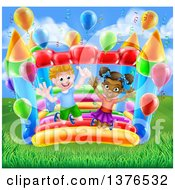 Clipart Of A Cartoon Happy White Boy And Black Girl Jumping On A Bouncy House Castle With Party Balloons In A Park Royalty Free Vector Illustration by AtStockIllustration