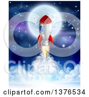 Clipart Of A Rocket Ship Taking Off Over A Full Moon Clouds And Starry Sky Royalty Free Vector Illustration by AtStockIllustration