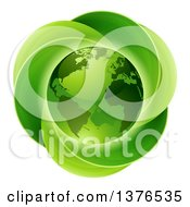 Clipart Of A 3d Shiny Earth Globe Over A Circle Of Leaves Royalty Free Vector Illustration by AtStockIllustration
