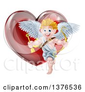 Happy Blond Caucasian Valentines Day Cupid Holding A Bow And Arrow In Front Of A Shiny Red Heart