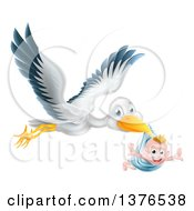 Clipart Of A Flying Stork Bird Holding A Happy Baby Boy In A Blue Bundle With His Arms Out Like Wings Royalty Free Vector Illustration by AtStockIllustration