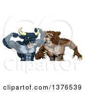 Clipart Of A Tough Aggressive Blue Bull Ready To Fight A Brown Bear Royalty Free Vector Illustration