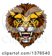 Clipart Of A Vicious Male Lion Mascot Head Royalty Free Vector Illustration