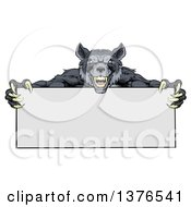 Clipart Of A Snarling Gray Wolf Mascot With Claws Holding A Blank Sign Royalty Free Vector Illustration