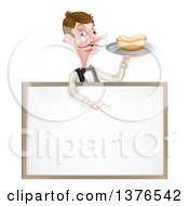 Cartoon Caucasian Male Waiter With A Curling Mustache Holding A Hot Dog On A Tray And Pointing Down Over A Blank White Menu Sign Board