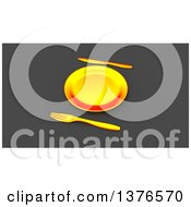 Clipart Of A 3d Plate And Silverware On A Gray Background Royalty Free Illustration
