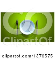 Clipart Of A 3d Plate And Silverware On A Green Background Royalty Free Illustration