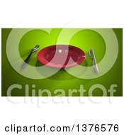 Clipart Of A 3d Plate And Silverware On A Green Background Royalty Free Illustration by Julos