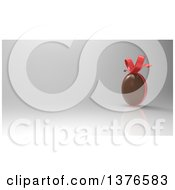 Clipart Of A 3d Chocolate Easter Egg With A Bow Over A Gray Background Royalty Free Illustration