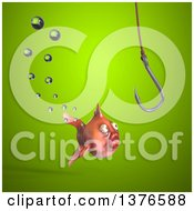 Clipart Of A 3d Fat Goldfish Looking At A Hook Royalty Free Illustration by Julos