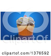Clipart Of A 3d Cupcake On A Blue Background Royalty Free Illustration by Julos