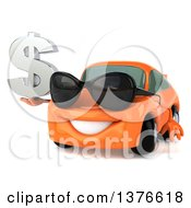 Clipart Of A 3d Happy Orange Porsche Car Wearing Sunglasses And Holding Dollar Currency Symbol Royalty Free Illustration