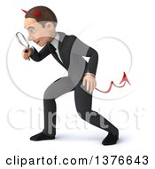 Clipart Of A 3d Young White Devil Business Man Searching With A Magnifying Glass On A White Background Royalty Free Illustration