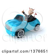 Clipart Of A 3d Young White Devil Business Man Driving A Convertible Car On A White Background Royalty Free Illustration
