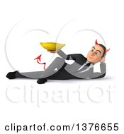 Clipart Of A 3d Young White Devil Business Man Holding A Banana On A White Background Royalty Free Illustration