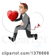 Clipart Of A 3d Young White Devil Business Man Holding A Love Heart On A White Background Royalty Free Illustration
