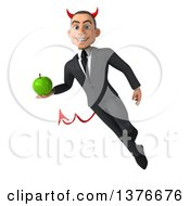 Clipart Of A 3d Young White Devil Business Man Holding A Green Apple On A White Background Royalty Free Illustration