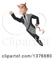 Clipart Of A 3d Young White Devil Business Man Flying On A White Background Royalty Free Illustration